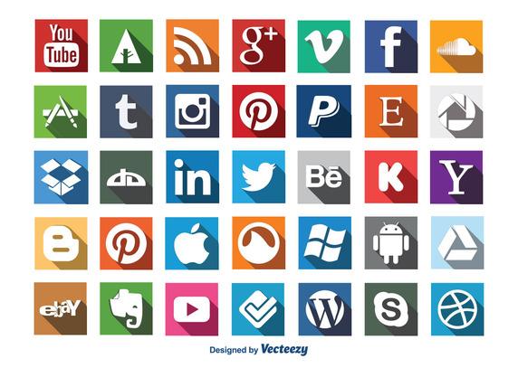 social-media-long-shadow-icon-set